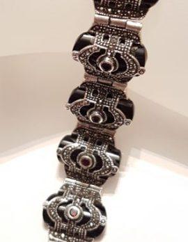 Sterling Silver Marcasite, Onyx & Garnet Art Deco Style Bracelet