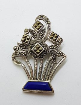 Sterling Silver Marcasite and Lapis Lazuli Floral Brooch