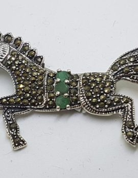 Sterling Silver Marcasite & Emerald Large Horse Brooch