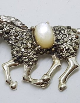 Sterling Silver Marcasite & Mother of Pearl Large Horse Brooch