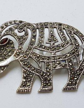 Sterling Silver Marcasite & Garnet Large Elephant Brooch