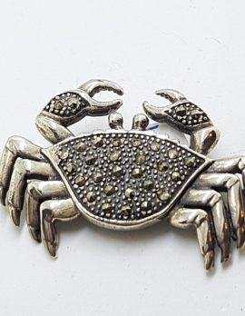 Sterling Silver Marcasite Large Crab Brooch