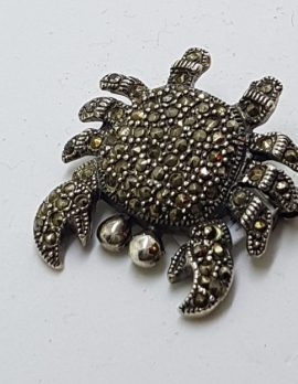 Sterling Silver Marcasite Crab Brooch