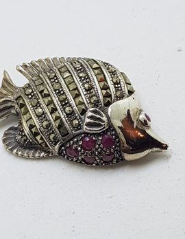 Sterling Silver Marcasite & Ruby Fish Brooch