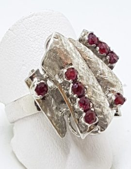 Sterling Silver Vintage Ruby Cluster Ring