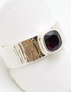 Sterling Silver Garnet Square in Wide Band Ring
