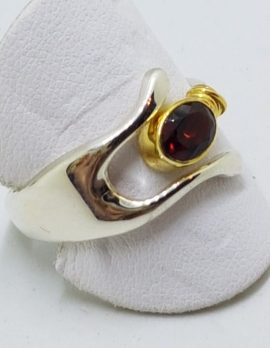 Sterling Silver Oval Garnet Wishbone Ring - with Gold Plate