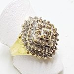 9ct Yellow Gold Diamond Large Cluster Ring