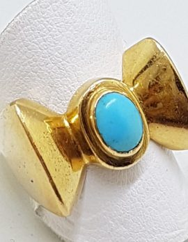 18ct Gold Large / Heavy Bow Ring with Turquoise