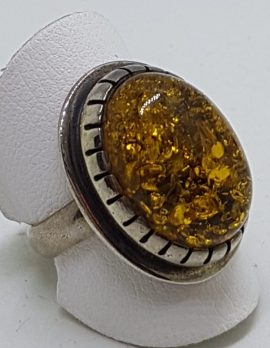 Sterling Silver Large Green Amber Ring - Oval