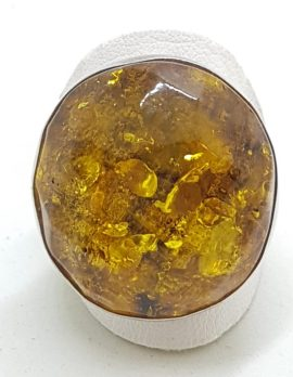 Sterling Silver Large Green Faceted Amber Ring - Round