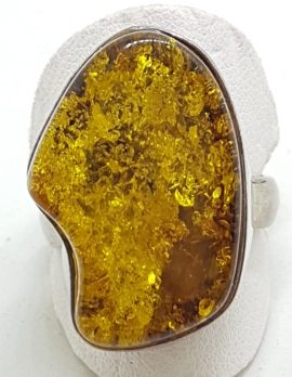 Sterling Silver Large Green Amber Ring - Free Form Shape