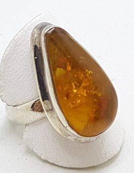 Sterling Silver Teardrop Shape Natural Amber Ring