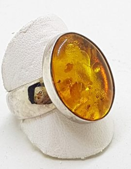 Sterling Silver Oval Natural Amber Ring - Wide Band