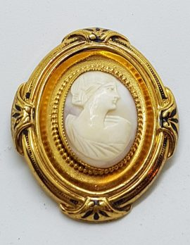 Gold Plated Ornate Oval Large Ornate Shell Cameo Brooch