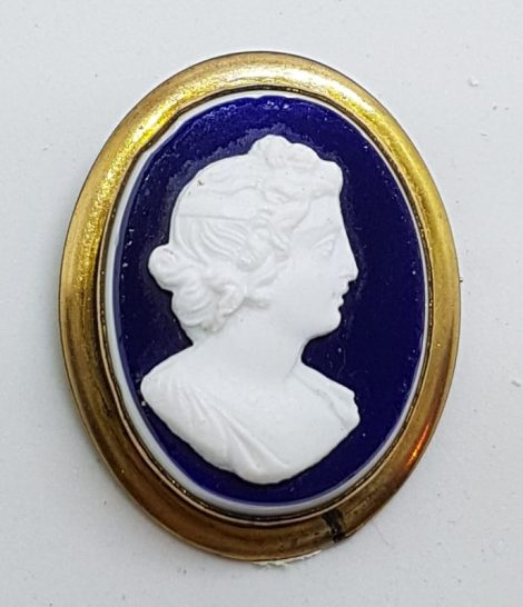 Gold Lined Oval Blue and White Lady Cameo Brooch