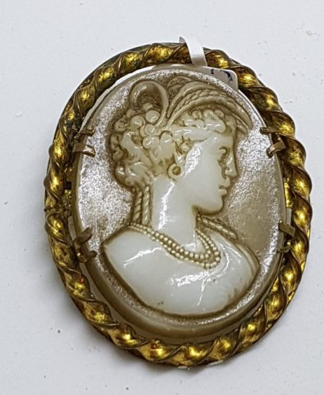 Gold Plated Large Oval Brown Lady Cameo Brooch - Ornate