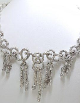 Silver Plated Swarovski Crystal Ornate Necklace