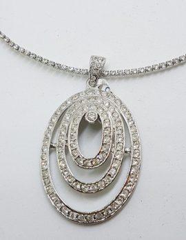 Silver Plated Swarovski Crystal Large Oval Pendant on Choker
