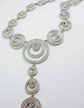 Silver Plated Swarovski Crystal Drop Large Necklace