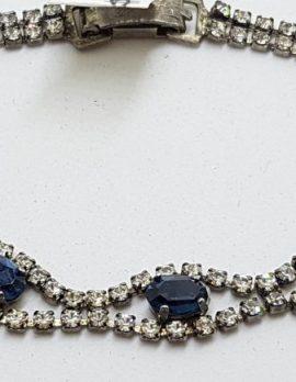 Silver Plated Rhinestone & Blue Bracelet
