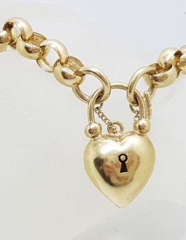 9ct Gold Heavy Belcher Link Padlock Bracelet
