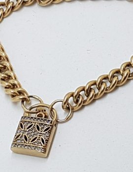9ct Rose Gold Silver Filled Padlock Bracelet with Cubic Zirconia