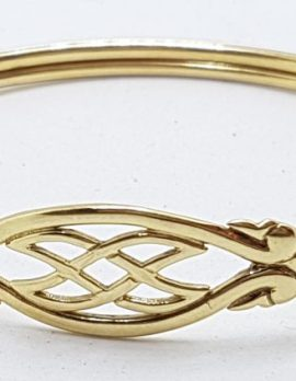 9ct Yellow Gold Patterned Oval Bangle