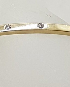 9ct Yellow Gold Diamond Set Oval Bangle