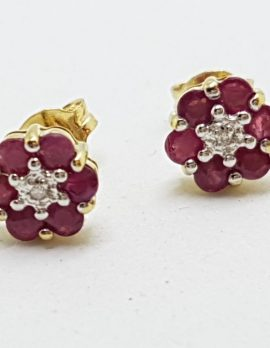 9ct Gold Natural Ruby & Diamond Stud Earrings