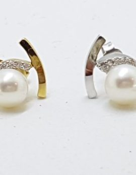14ct Gold Pearl and Diamond Stud Earrings - Available in Yellow or White Gold