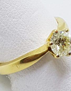 18ct Yellow Gold Solitaire Diamond Claw Set Diamond Ring