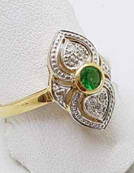9ct Yellow Gold Natural Emerald & Diamond Ornate Art Deco Style Cluster Ring