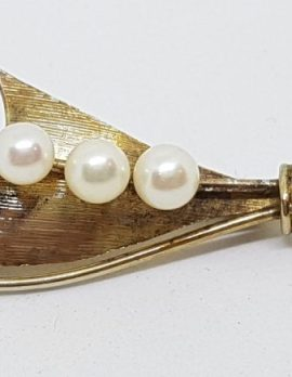 Sterling Silver Gold Plated Mikimoto Pearl Brooch - Vintage