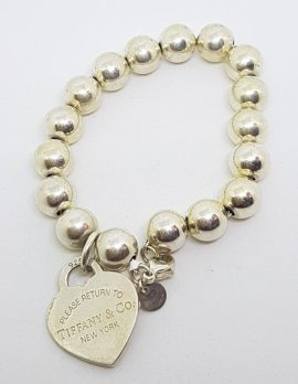 Sterling Silver Vintage Tiffany Ball and Heart Bracelet