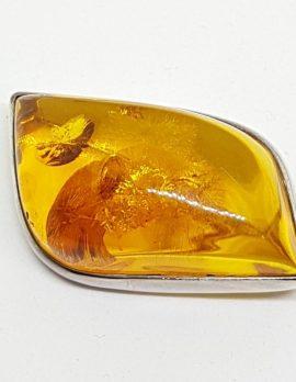 Sterling Silver Natural Amber Chunky Large Leaf Shape Brooch
