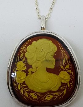 Sterling Silver Natural Amber Carved Lady with Roses Cameo Brooch / Pendant on Sterling Silver Chain