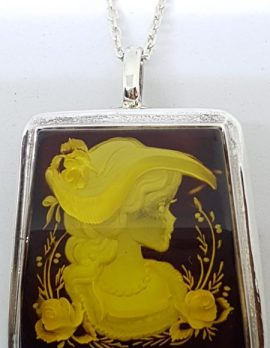 Sterling Silver Natural Amber Carved Lady with Hat & Rose Cameo Brooch / Pendant on Sterling Silver Chain
