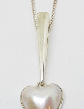 Sterling Silver Mabe Pearl Long Heart Drop Pendant on Chain