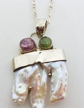 Sterling Silver Mabe Pearl, Pink & Green Tourmaline Pendant on Chain