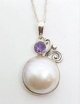 Sterling Silver Mabe Pearl & Amethyst Filigree Pendant on Chain