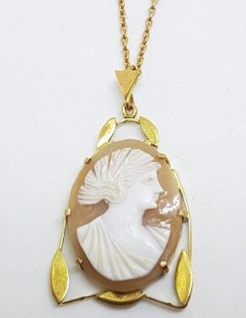 9ct Yellow Gold Lady Head Ornate Leaf Design Cameo Pendant on Gold Chain