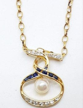 9ct Yellow Gold Sapphire, Diamond & Pearl Twist Design Pendant on Gold Chain