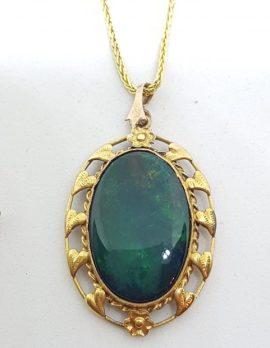 9ct Yellow Gold Oval Opal Ornate Pendant on Gold Chain