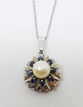 9ct White Gold Round Sapphire and Pearl Cluster Pendant on Gold Chain
