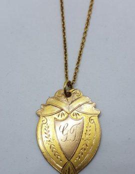 9ct Yellow Gold Shield Shape Champion Sprint 1931 Medallion Pendant on Gold Chain