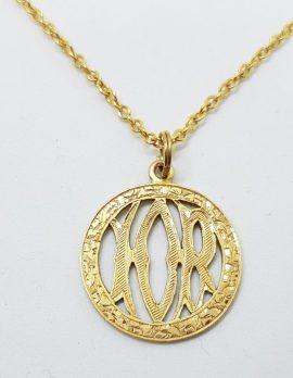 """15ct Yellow Gold Ornate Round """"I O R"""" Medallion Pendant on 9ct Gold Chain"""