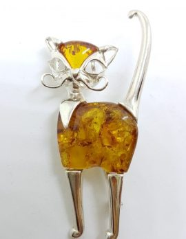 Sterling Silver Large Natural Brown Amber Cat Brooch