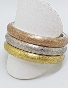 Sterling Silver Gold Plated Three Tone Heavy Wide Band Ring