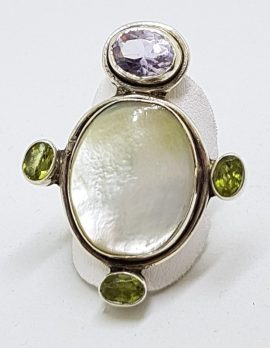 Sterling Silver Large Mother of Pearl with Amethyst and Peridot Ring